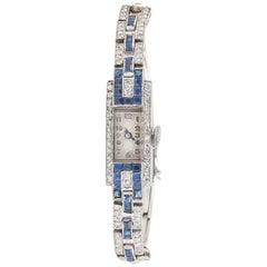 Ladies Platinum Diamond Sapphire Set Mechanical Wristwatch, circa 1925