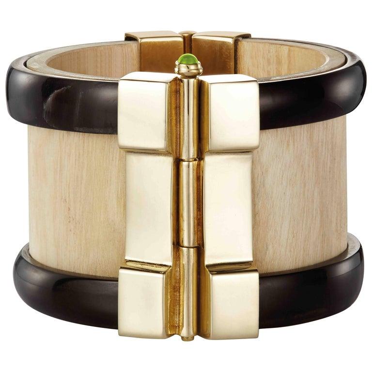 Fouche Cuff Bracelet Gold Bespoke Horn Wood Emerald Peridot Ruby