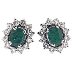 Stunning 1950s Diamond Emerald Stud Earrings