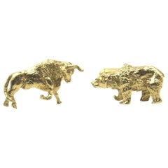 Gold Bull and Bear Men's Cufflinks