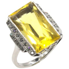 Art Deco Lemon Citrine Diamond Enamel Cocktail Ring