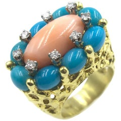 1960s Coral Turquoise Diamond Ring