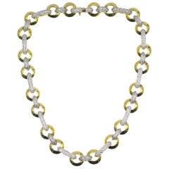 Diamond 18 Karat Gold Round Link Necklace Signed Valente
