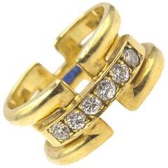 Designer Diamond Sapphire Wide 18 Karat Yellow Gold Wedding Band