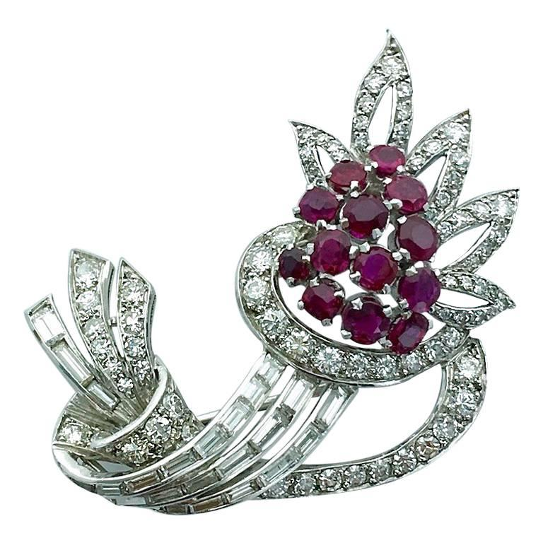 1940S Diamond Ruby Platinum Flower Brooch For Sale
