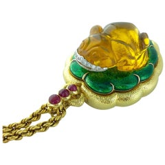 1960s David Webb Amber Diamond Ruby Enamel Gold Pendant Necklace