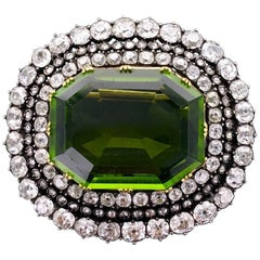 Late 19th Century Antique Peridot Diamond Silver Gold Brooch