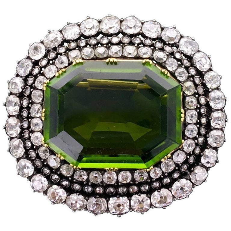 Late 19th Century Antique Peridot Diamond Silver Gold Brooch