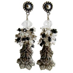 Antique Sterling Lion's Paw Amulet Cluster Earrings