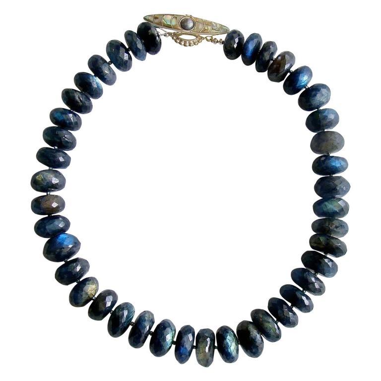Faceted Blue Flash Labradorite Statement Necklace For Sale