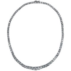 26.32 Carat Diamond and Platinum Rivière Necklace