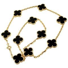 Van Cleef & Arpels Vintage Alhambra Onyx Gold Ten Motif Necklace