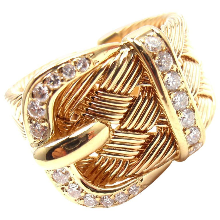 Hermes Diamond Large Woven Buckle Yellow Gold Band Ring