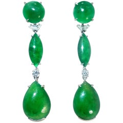 Untreated GIA certified fine Jade  Diamond Platinum Earrings By Wedderien