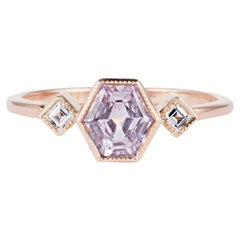 Cushla Whiting Geometric Lavender Sapphire and Diamond Engagement Ring
