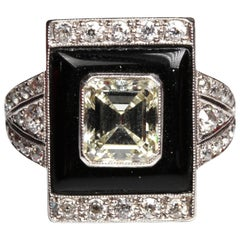 Art Deco 2.62 Carat Diamond Onyx Cocktail Ring