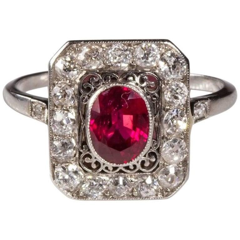 Art Deco French Ruby Diamond Platinum Ring