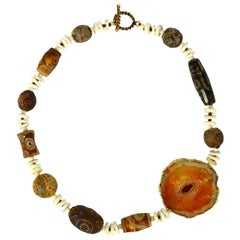 Tibetan Dzi Agate Banded Agate Howlite Gold Necklace