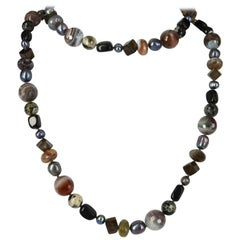 Botswana Agate Cobra Agate Smokey Quartz Pearl Onyx Long Silver Necklace