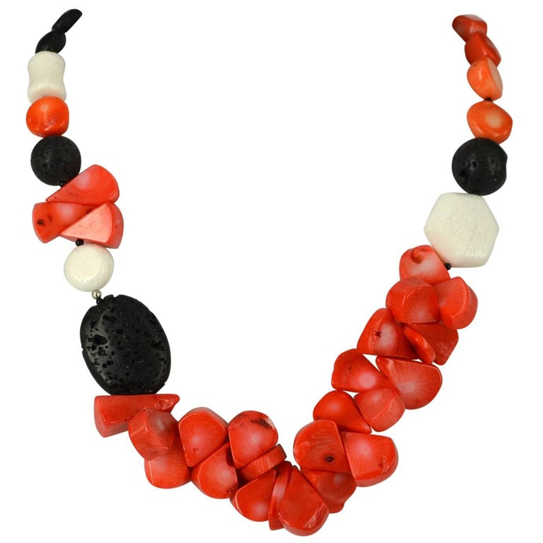 Decadent Jewels Orange Teardrop Coral Lava Onyx Silver Necklace