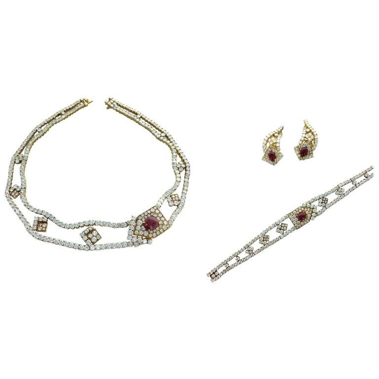 1970s M. Gerard Paris Diamond Ruby Cabochon Gold Set Necklace Earrings Bracelet