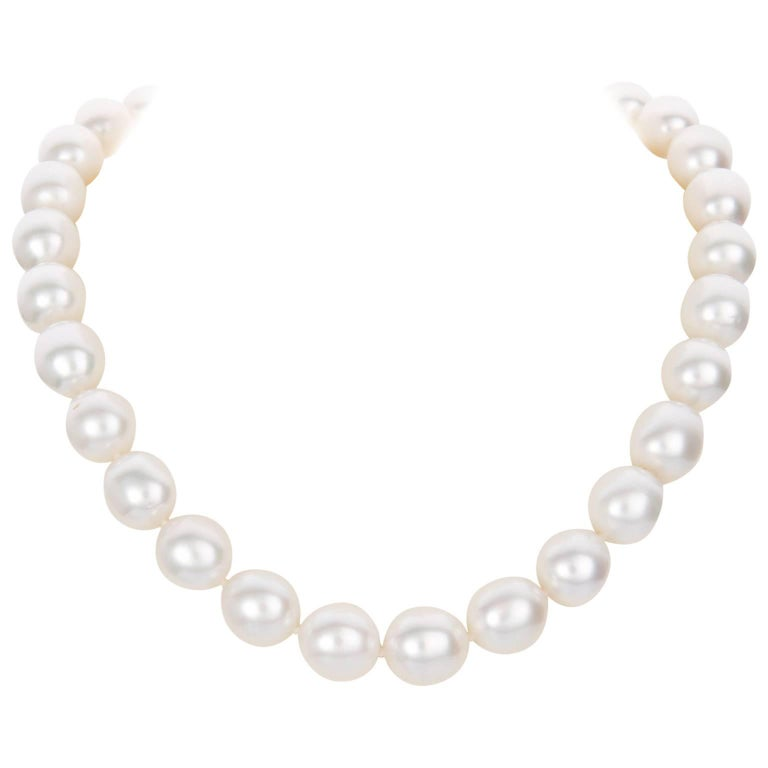 Australian South Sea Pearl Strand with 18 Karat White Gold and Diamond Set Clasp