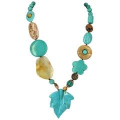 Turquoise Leaf Pendant Necklace Smokey Quartz Agate Jasper Silver