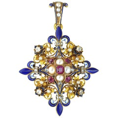 Victorian Holbeinesque Ruby, Pearl, Diamond and Enamel Pendant, circa 1860