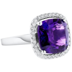 Purple Amethyst Diamond Cocktail Ring