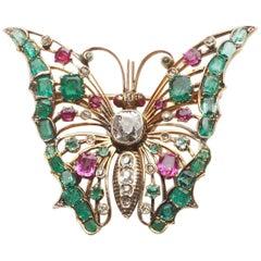 Polish Antique Gem-Set Butterfly Brooch