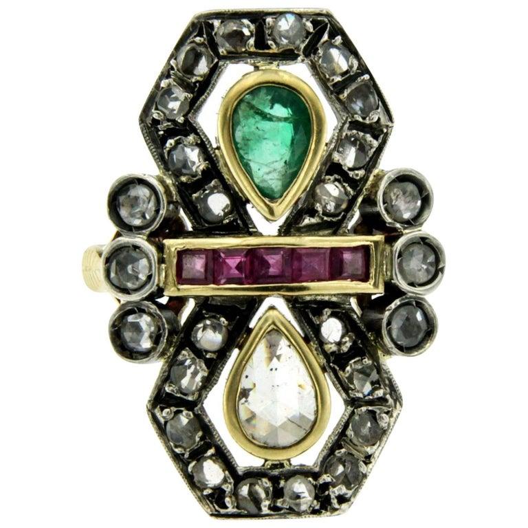 Ruby Emerald Diamond Gold Ring
