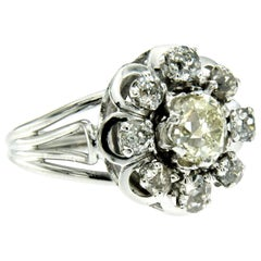 Art Deco Diamond Gold Cluster Ring