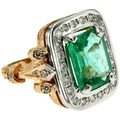 Diamond Emerald Gold Retro Ring