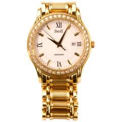 Piaget Yellow Gold Diamond Bezel White Dial Automatic Wristwatch Ref 24001 M501D