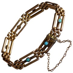 Antique Edwardian Rose Gold Turquoise Gate Bracelet