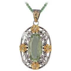 Emma Chapman Green Amethyst  Yellow Gold Silver Diamond Pendant