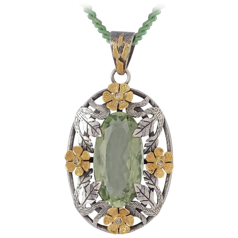 Emma Chapman Green Amethyst  Yellow Gold Silver Diamond Pendant