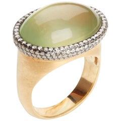 LG Treasures Green Prehnite and Diamond Gold Ring