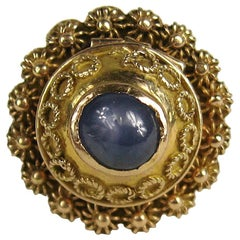 Gold Victorian Blue Sapphire Poison Ring