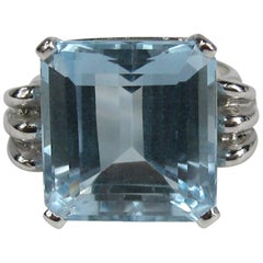 1940s 13.75 Carat Emerald Cut Aquamarine 14K White Gold Engagement Ring GIA Cert