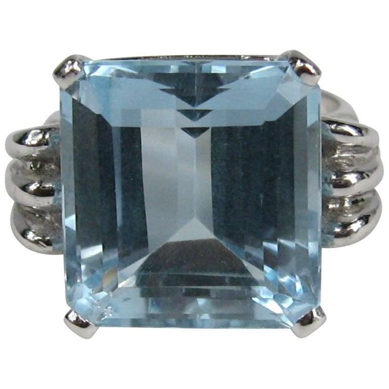 08cf0116ceecba 1940s 13.75 Carat Emerald Cut Aquamarine 14K White Gold Engagement Ring GIA  Cert For Sale