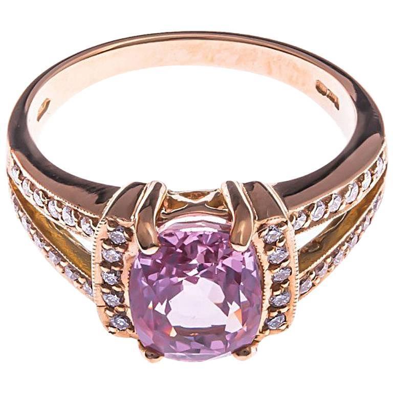18 Carat Rose Gold 3.00 Carat Pink Sapphire and Diamond Cocktail Ring