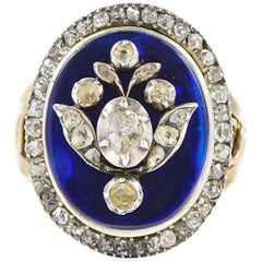 Georgian Royal Blue Bristol Glass Diamond Giardinetti Ring