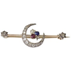 Antique Victorian Gold Sapphire Ruby Diamond Crescent Clover Stars Bar Brooch