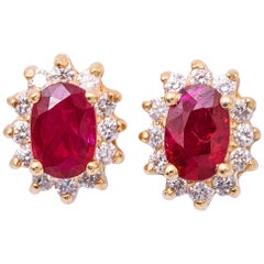Oval Shape Ruby and Diamond Studs Earrings
