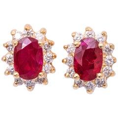 Oval Shape Ruby and Diamond Studs Earrings