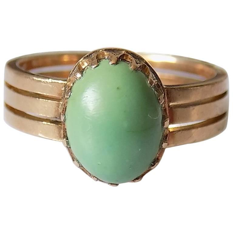15K Victorian Gold Turquoise Solitaire Ring