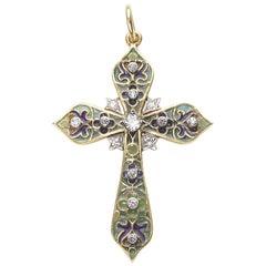 Plique á Jour Enamel and Diamond Cross