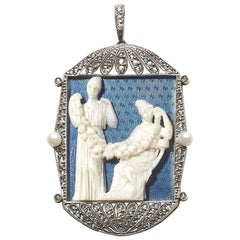 Ivory and Enamel Pendant