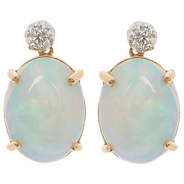 18 Carat Gold 6.00 Carat Opal and Diamond Earrings